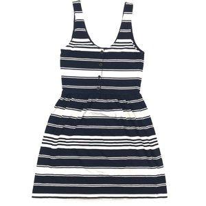 J. Crew Navy Blue and White Stripe Dress Size S